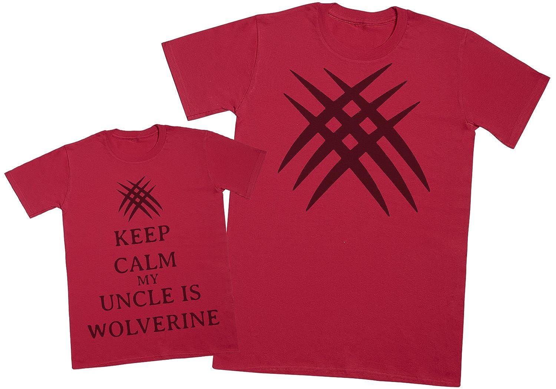 Zarlivia Clothing Keep Calm My Uncle is Wolverine - Regalo Para Padres e Hijos - Camiseta de Niño y Camiseta de Hombre: Amazon.es: Ropa y accesorios