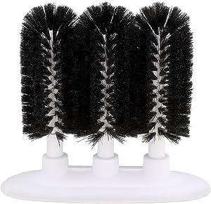 Glass Cleaning Brush, 3 Brush Glass Washer – Triple Glass Rinser, Cup Washer Brush, Glass Brushes for Washing Glasses