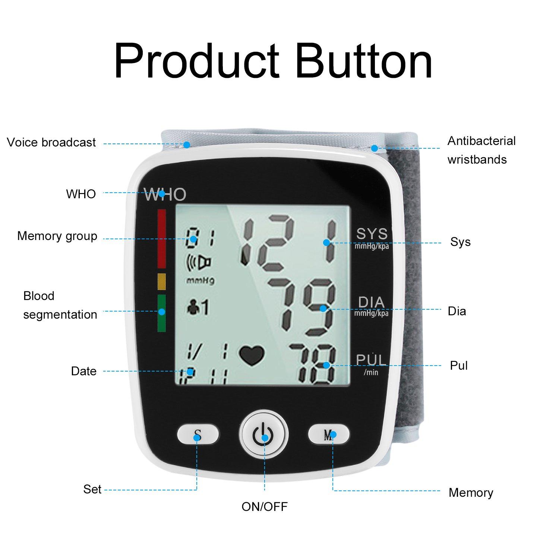 hehilark Tensiómetro, monitor de presión arterial del brazo superior con brazalete pantalla Digital LCD Monitor de presión arterial de muñeca automático uso ...