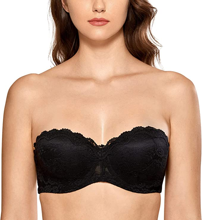 Women/'s Lace Non-Padded Underwire Multiway Strapless Bra