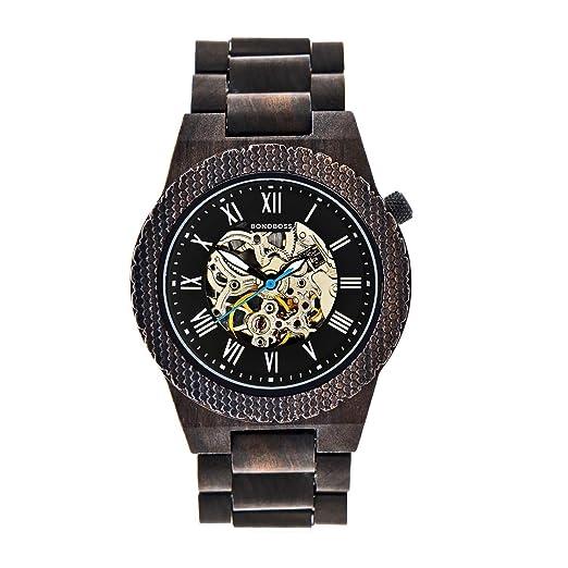 Bonoboss Kronos - Reloj Automático de Madera para Hombre, Cristal de Zafiro (New Sándalo