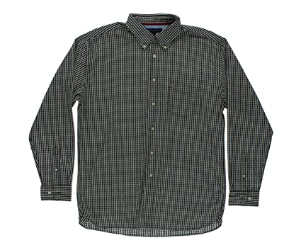 92ed0e1a9 Tommy Hilfiger Men's Collar Grid Button Down Black/White L at Amazon Men's  Clothing store: