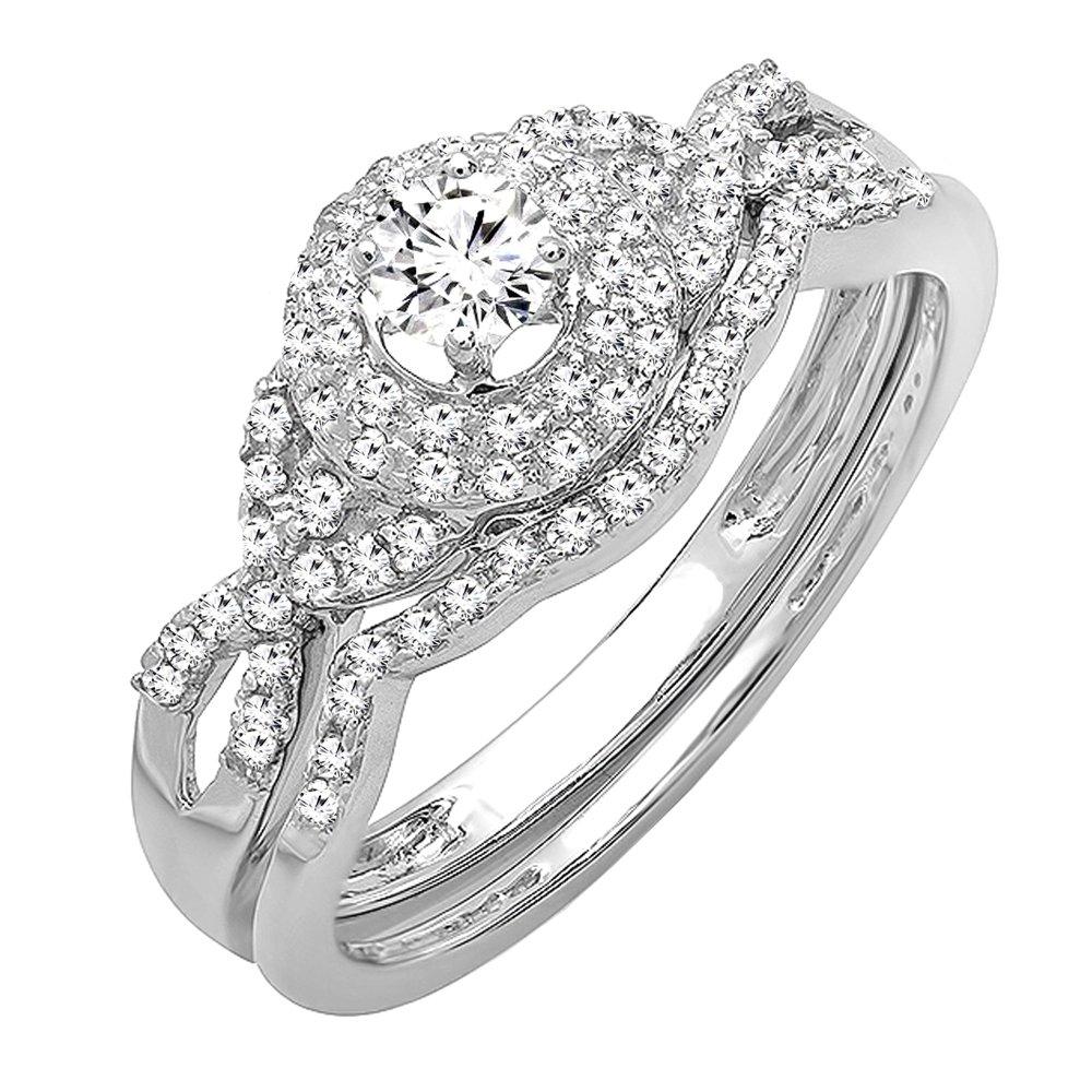0.50 Carat (ctw) 14k White Gold Round Diamond Ladies Halo Style Bridal Engagement Ring Matching Band Wedding Set 1/2 CT (Size 6) by DazzlingRock Collection