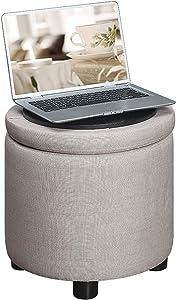 Convenience Concepts Designs4Comfort Round Accent Storage Ottoman, Tan Faux Linen