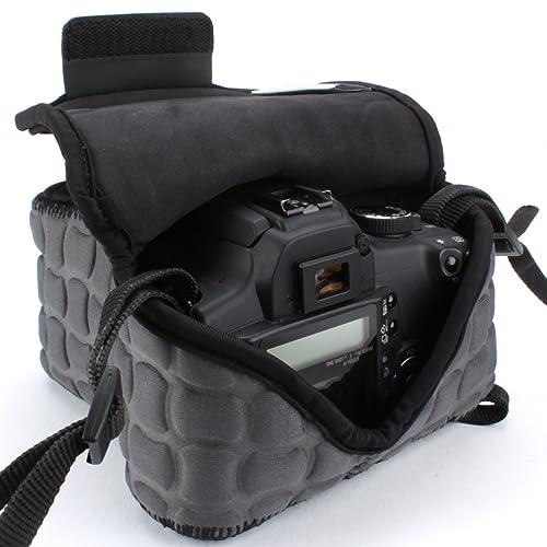 Custodia per DSLR/SLR da USA Gear: Borsa per fotocamere reflex con protezione in neoprene, passante per cintura, grigrio scuro e borsa accessori adatta per Canon EOS 1300D, Nikon D3400 e altro