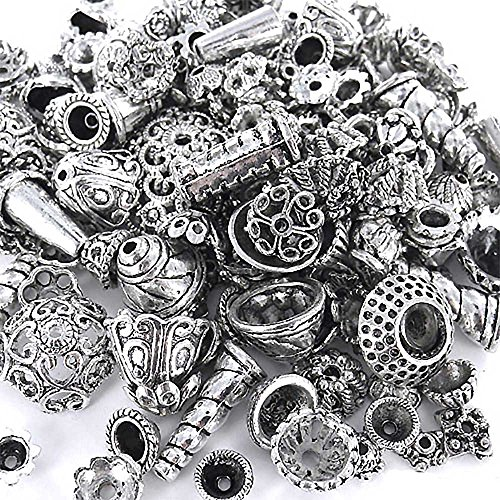 Design Bali Bead - eCrafty EC-5003 70-Piece Bali Style Jewelry Making Metal Bead Caps Deluxe New Mix, 100gm, Silver