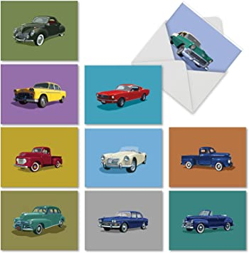Personalised  Any Text//Occasion//Text Inside Green Mercedes Car Greeting Card