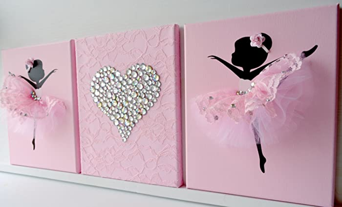 Amazon Com Ballerinas And Heart Nursery Wall Art In Pink And White