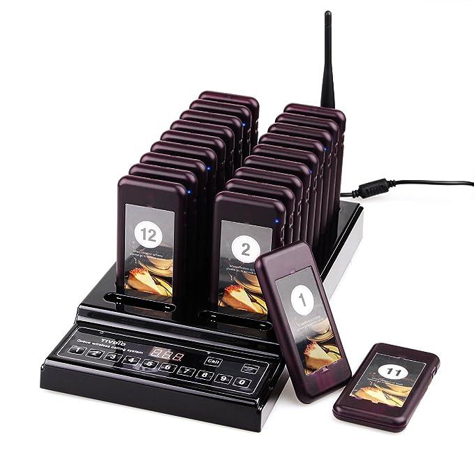 Tivdio T112 Sistema de Llamadas con un Transmisor + 20 Localizadores Recargables Portátil Inalámbrico Sistema Adecuado para Restaurante, Cafeterías, ...