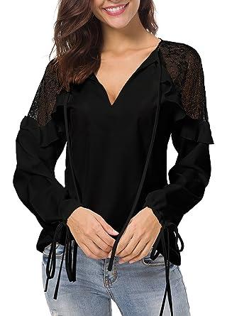 Damen Chiffon V-Ausschnitt Bluse Tunika Oberteil Hemd Spitze