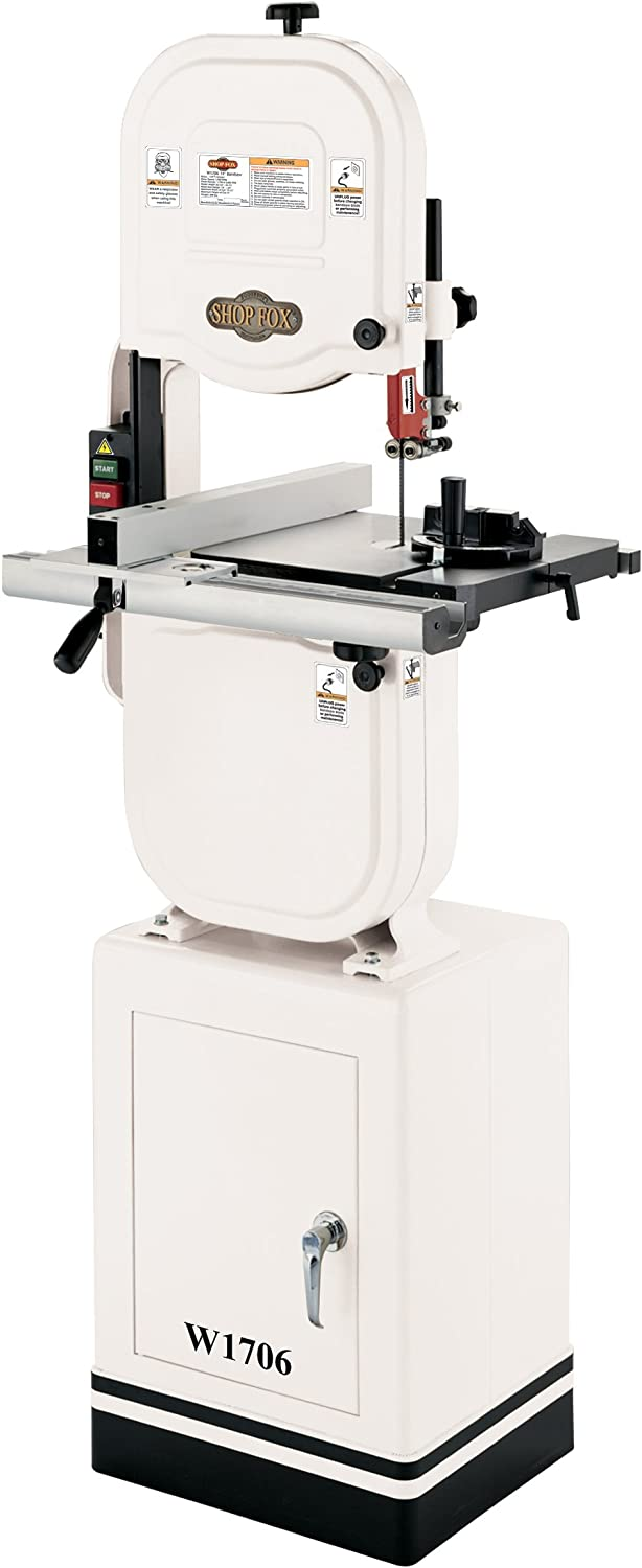 """Shop Fox W1706 14"""" Bandsaw with Cast Iron Wheels & Aluminum Fence"""