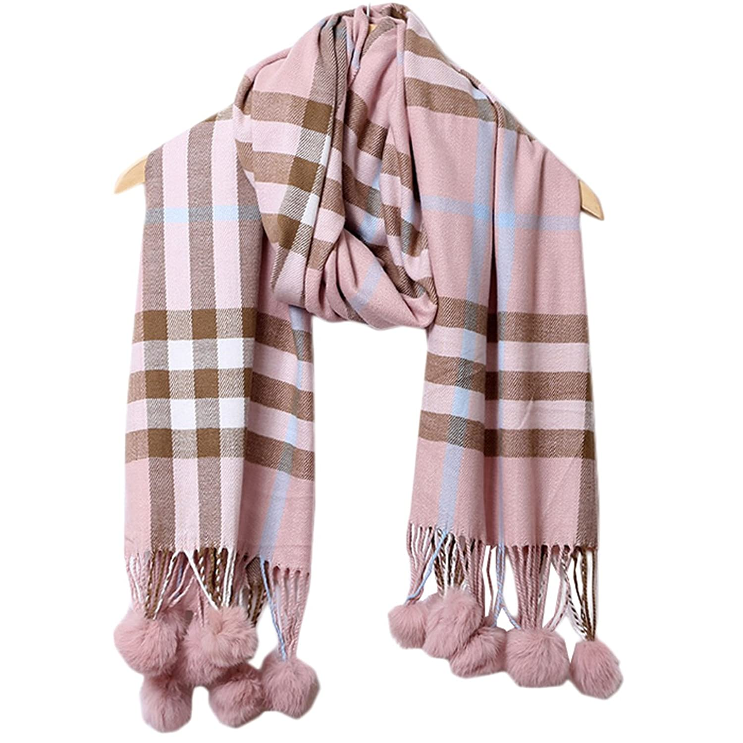 Life Star High-end Real Rabbit Fur Ball in Autumn and Winter Plaid Scarves