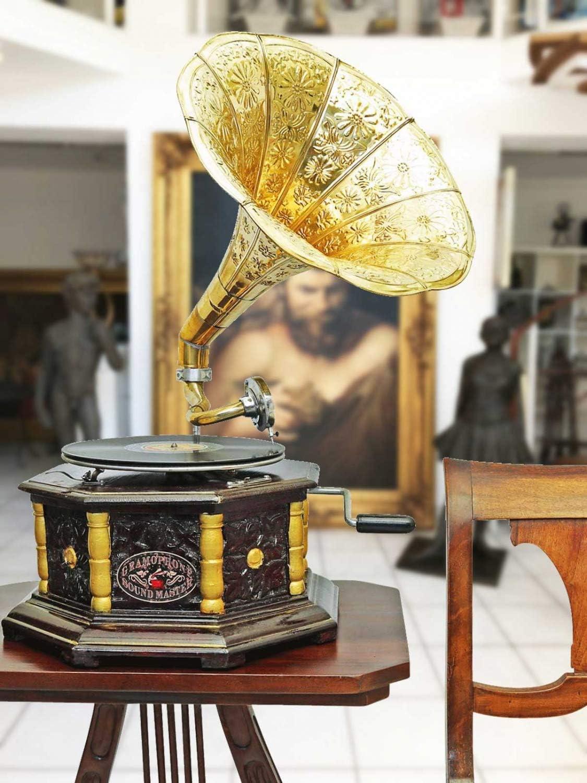 Nostalgia grammofono gramophone imbuto decorazione in stile antico n2