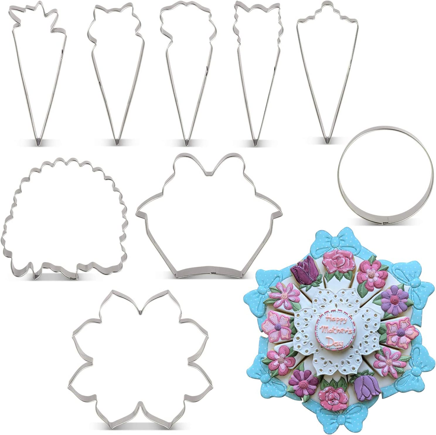 KENIAO Flower Floral Plate Cookie Cutter Set for Mother's Day - By Janka J. Cookies - 9 Piece - Stainless Steel