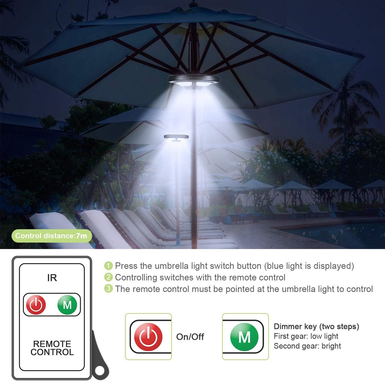 Jirvyuk Luci per Ombrellone con Pannello Solare e Telecomando Incluse con 36 LEDs Bianco Caldo 2 Livello Dimmerabili per Giardino Lampada per Ombrellone Spiaggia con Batterie 3AA
