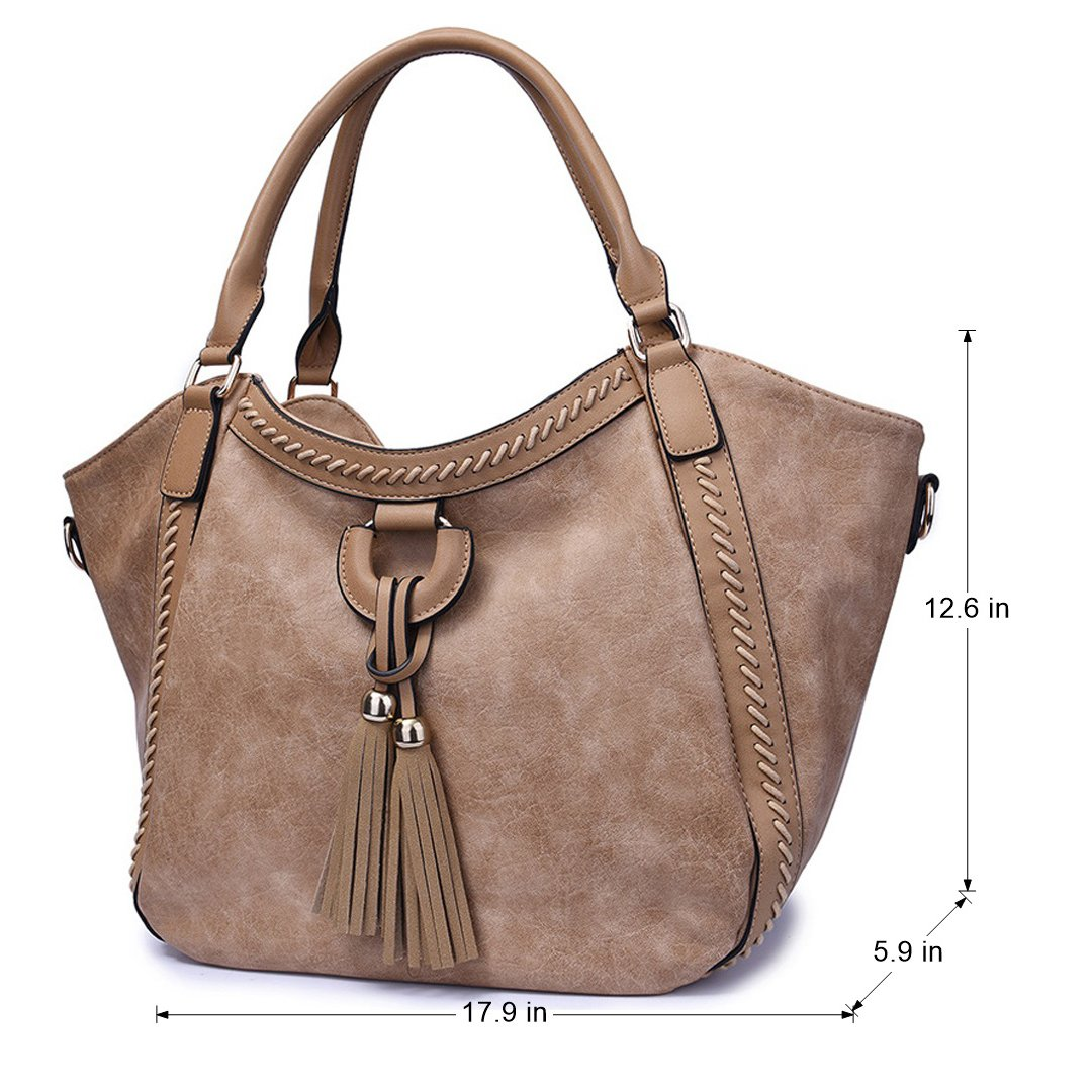 a0558c6276 Amazon.com  Mn Sue Women s Hobo Handbag Leather Shoulder Tote Purse Large  Top Handle Satchel Roomy Beach Bag with Tassel (Apricot)  Shoes