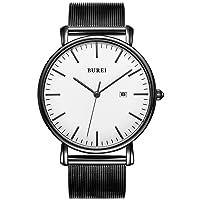 Herren Uhren Ultra Dünne Schwarze Minimalistische Quartz mit Datumsanzeige