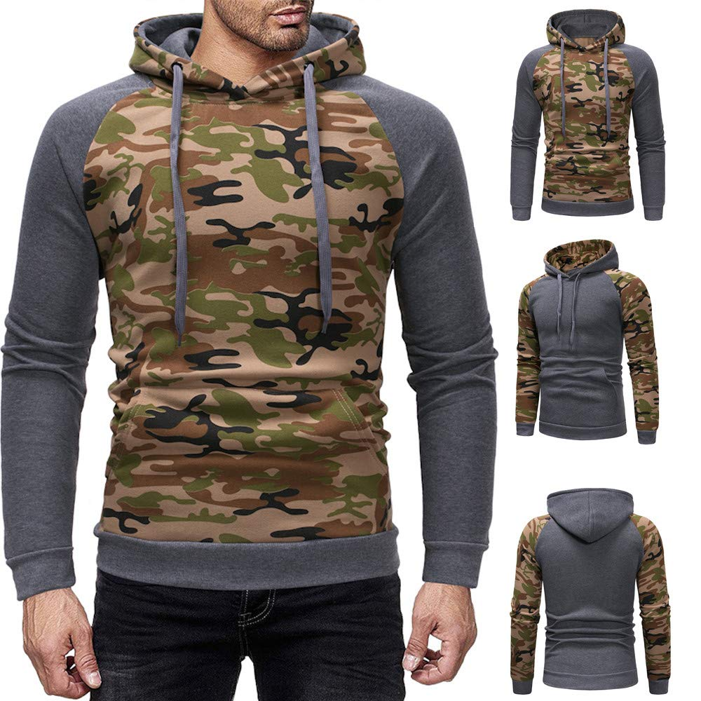 YYG Mens Color Blocked Plus Size Pocket Fleece Line Pullover Hoodie Sweatshirt