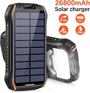 Xiyihoo Solar Charger 26800mAh, Solar Power Bank Portable Solar Panel Charger with 18 LEDs Flashlight 3 Output Ports Waterproof External Backup Battery for Outdoor Camping Hiking iOS Android (Orange)