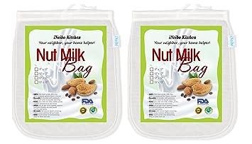 iNeibo Bolsa de leche de nuez, tela de filtración hecha de nailon resistente al desgarro. Juego de 2: 33x33cm