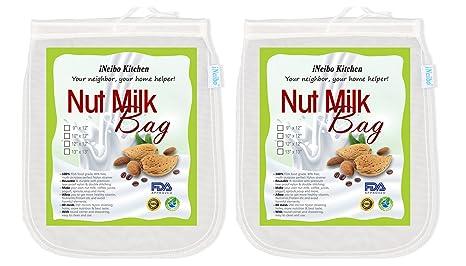 iNeibo Bolsa de leche de nuez, tela de filtración hecha de nailon resistente al desgarro