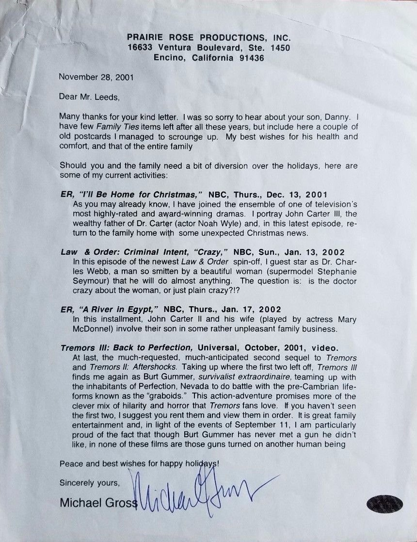 Actor Michael Gross Prairie Rose Production Letter Hand Signed W ...