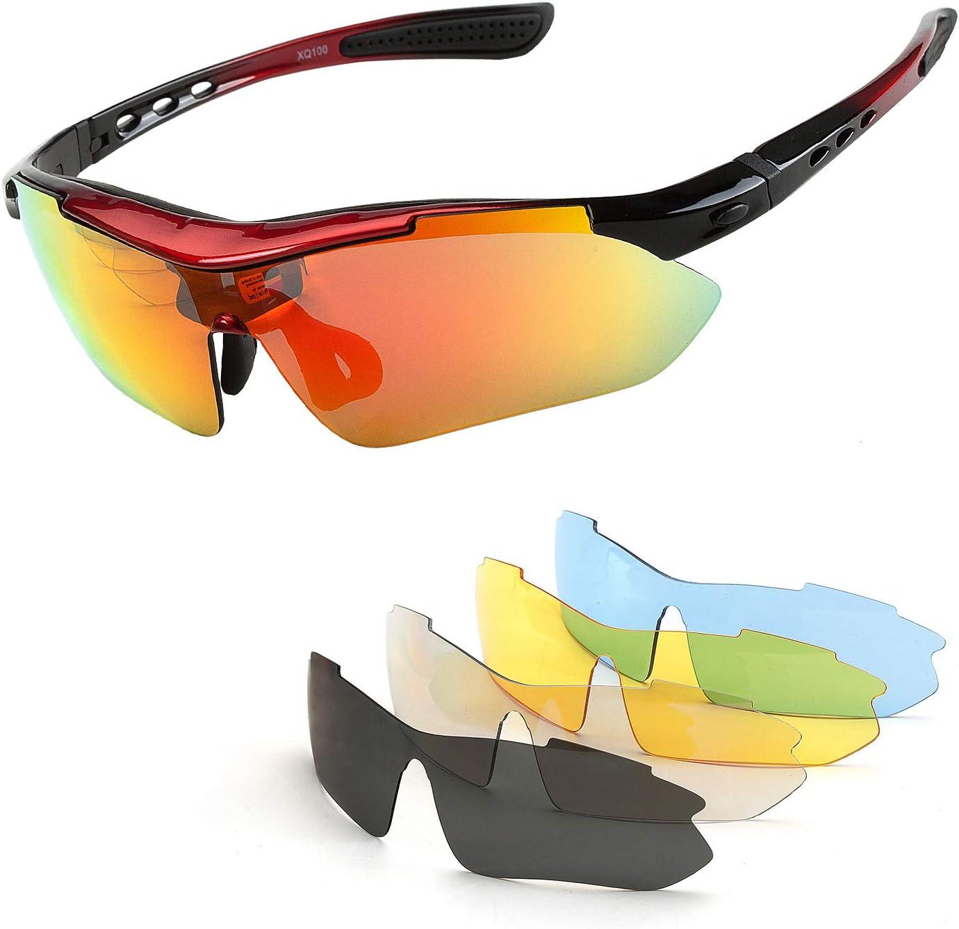 Renzer Gafas Bicicleta Montaña Hombre Gafas Ciclismo Hombre Polarizadas Gafas MTB con 5 Lentes Intercambiables Rojo: Amazon.es: Deportes y aire libre