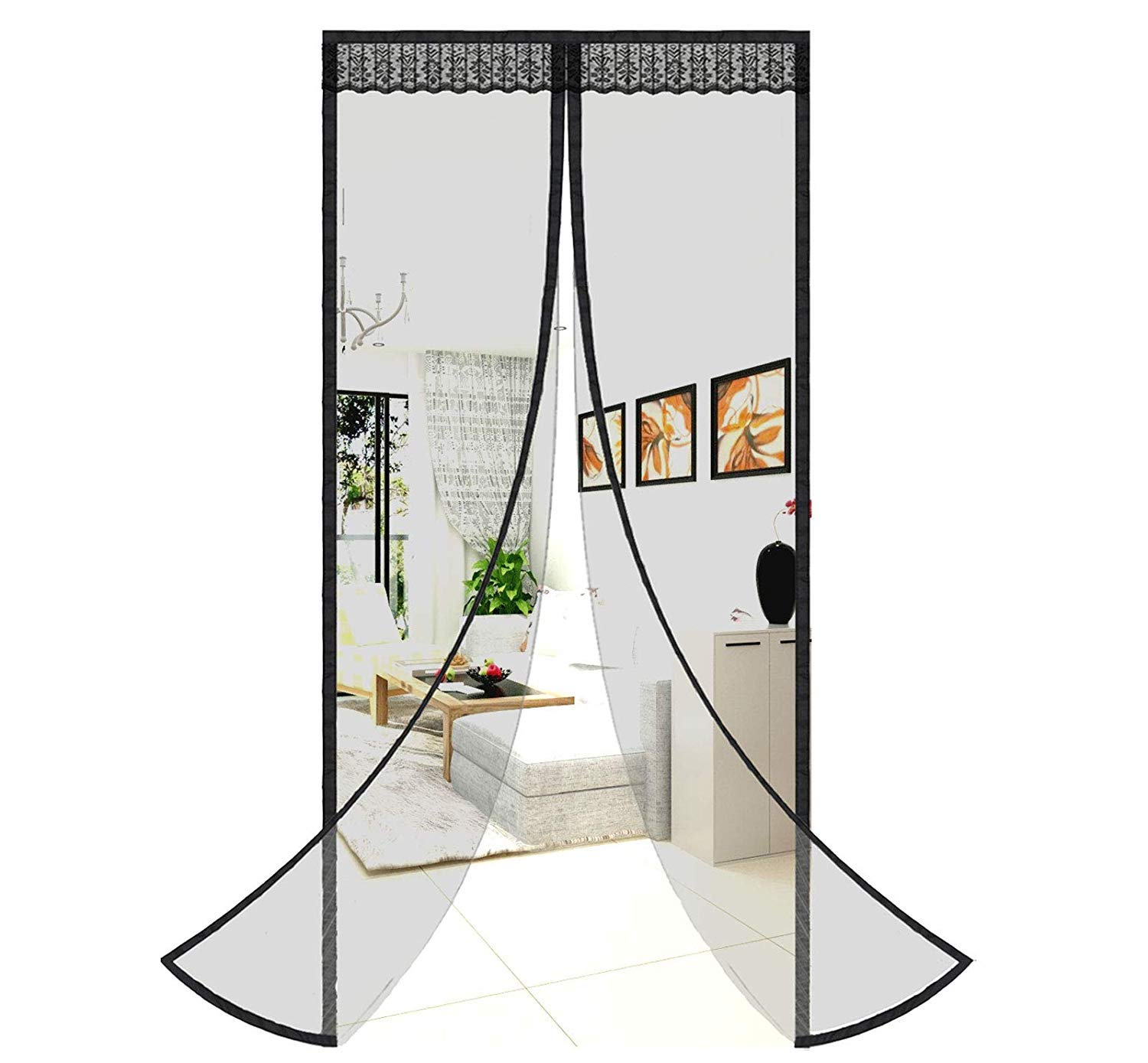 MODKOY Magnetic Screen Door Curtain 94x106inch, Black mesh Curtain, Magnetic adsorption Foldable Easy to Install, for Living Room/Patio Door by MODKOY