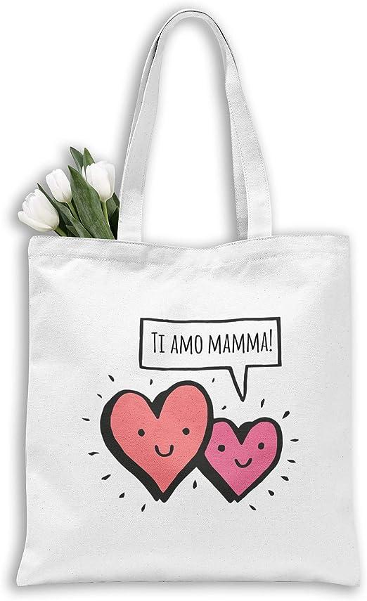 all sas Bolsa Shopper 100% Tela de Algodón Estampado TI Amo Mamma ...