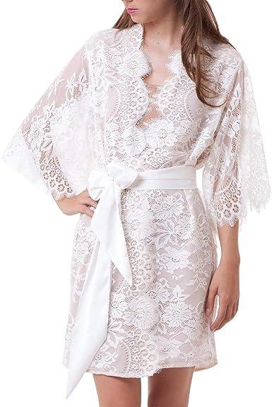 Vestido De Noche De Bata De Algodón con Cuello Redondo De Kimono ...