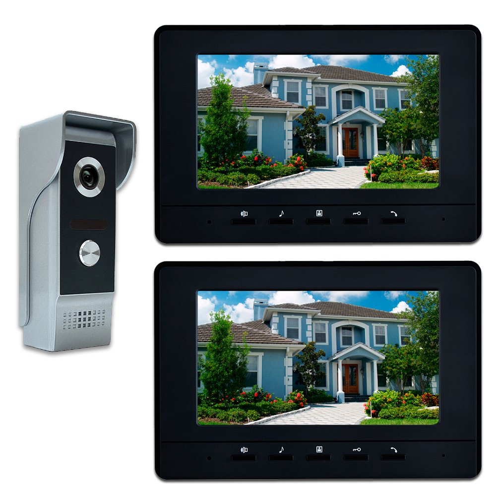 AMOCAM Video Intercom System, 7 Inches Video Doorbell Door phone System, Wired Video Door Phone HD Camera kits Dual-way Intercom for Villa House Office Apartment 1-IR camera 2-LCD color monitor