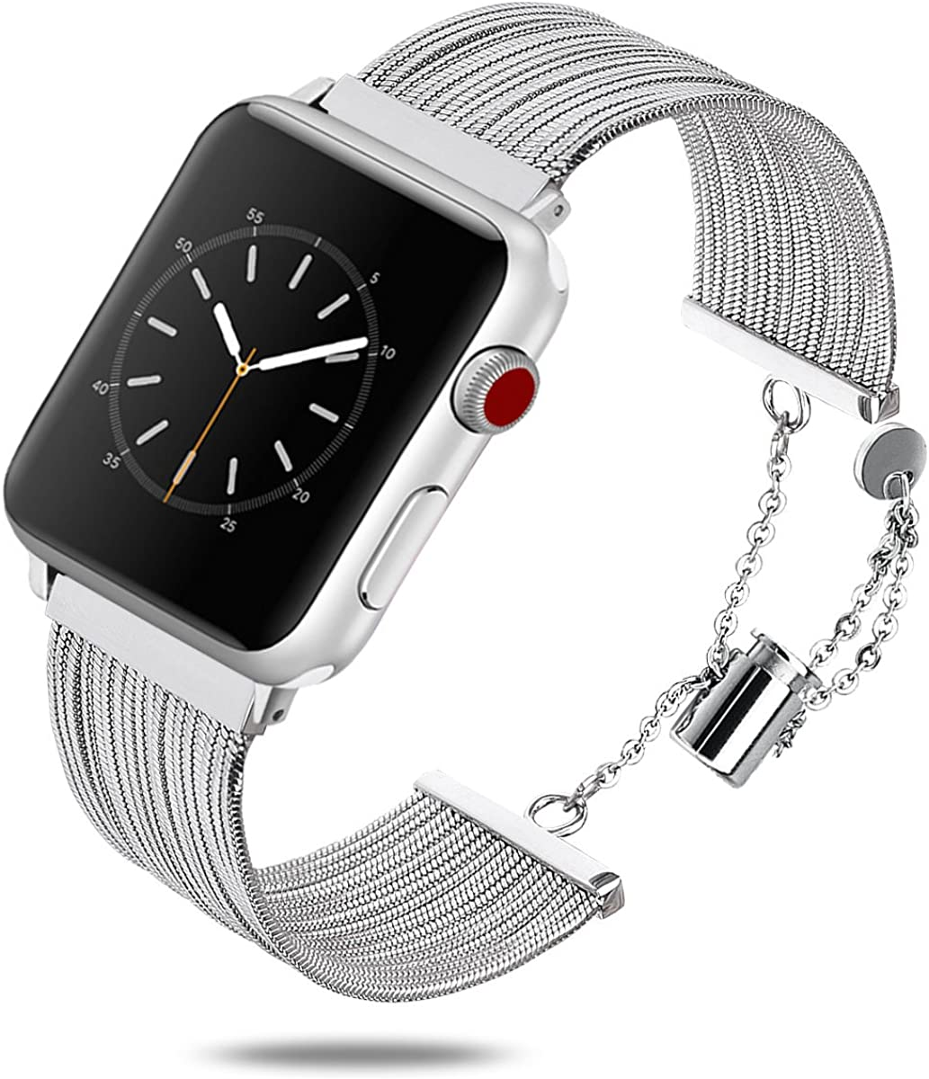 Compatible with Apple Watch, Band for iWatch Series 6 5 4 3 2 1 Stainless Steel Fashion Jewelry Replacement Dressy Bracelet 38mm 42mm Smart Watch Accessories