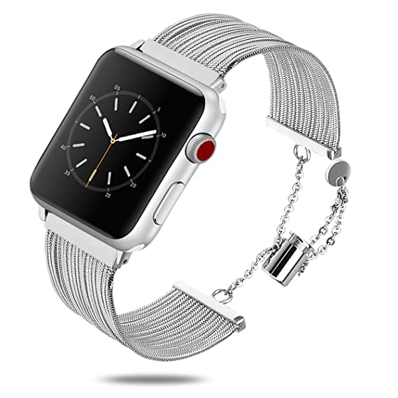 a0d6fb948 TOROTOP Compatible with Apple Watch Bands 38MM Women Men, Silver  Eye-catching Classy Stainless