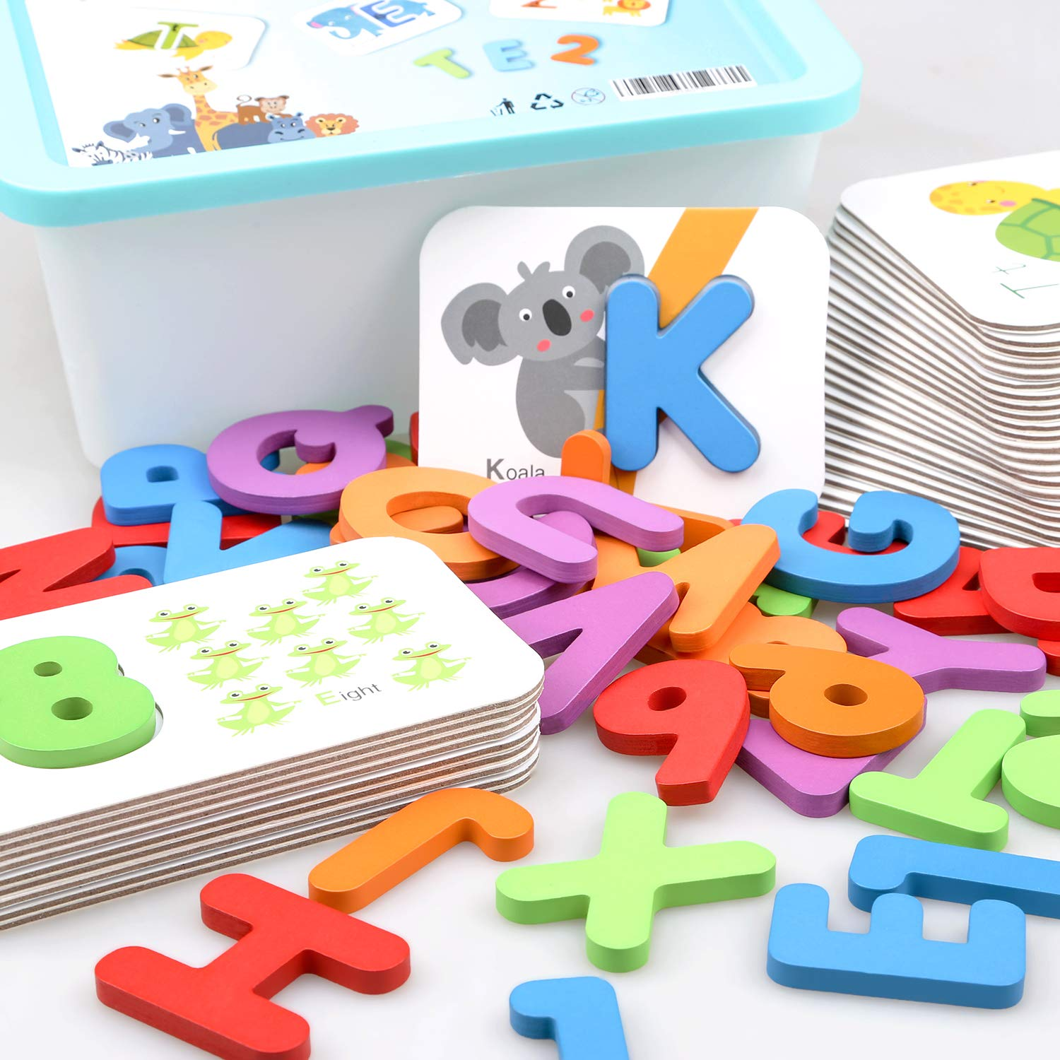 Baby Noah Toddler Animal Alphabet and Number Wooden Jigsaw Puzzle Flash Cards | ABC Letter Cards, Numbers 1 to 10 Counting Cards |Color Recognition Educational Toys Age 3 Preschool and Up by Baby Noah