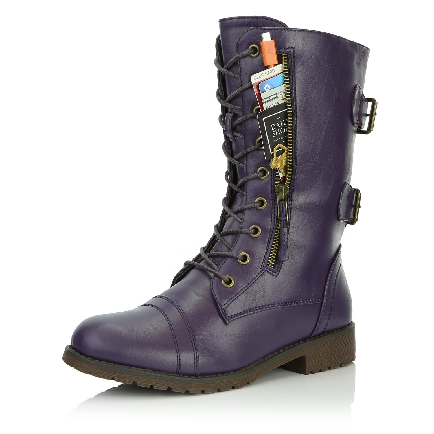 DailyShoes Women's Military Lace Up Buckle Combat Boots Mid Knee High Exclusive Credit Card Pocket, Sweet Purple, 7.5 B(M)