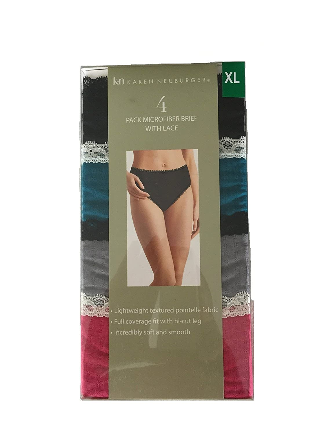 Karen Neuberger Microfiber Brief With Lace 4 Pk Bright, Medium