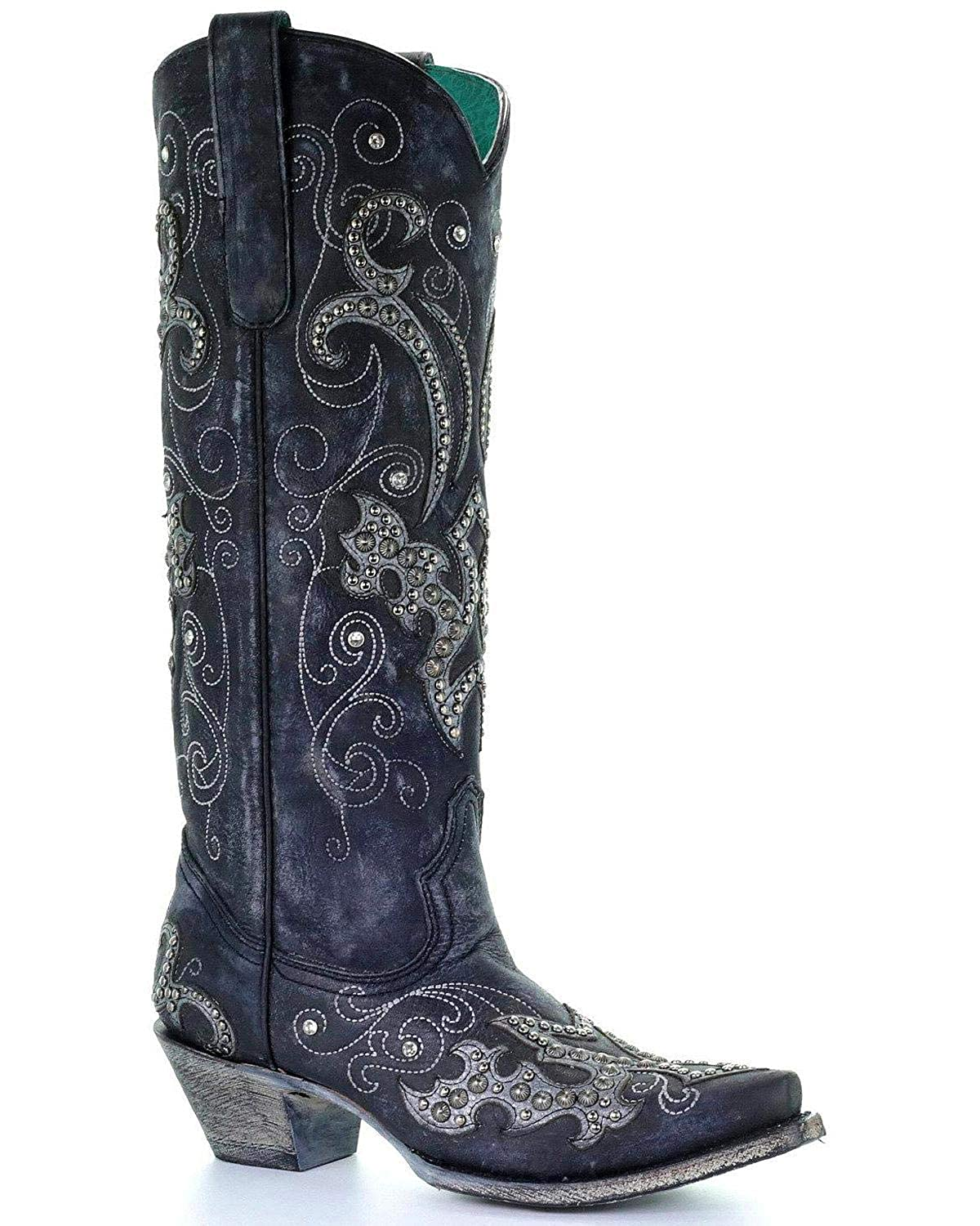 5ed4a019 Amazon.com | CORRAL Women's Tall Studded Overlay and Crystals Cowgirl Boot  Snip Toe | Boots