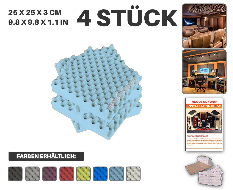 Acepunch 4 Stücke BLAU Egg Crate Noppenschaumstoff Akustikschaumstoff DIY Entwurf Mit Freiem Klebestreifen 25 x 25 x 3 cm AP1052 Ace Punch