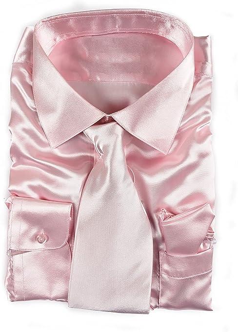 Mens Satin Shiny Silk-like Smart Casual Dress Club Cocktail Party Formal Shirt
