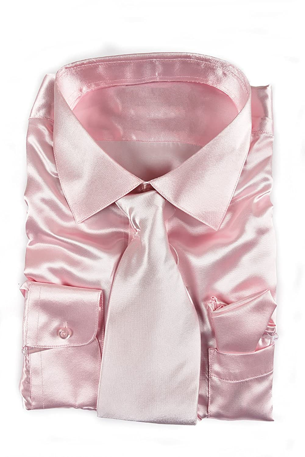 52bf501dc726 Top1: Classy Men's Satin Shiny Light Pink Shirt Set + Matching Tie and Hanky