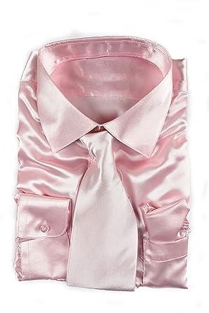 a4f59b8c Classy Men's Satin Shiny Light Pink Shirt Set + Matching Tie and Hanky