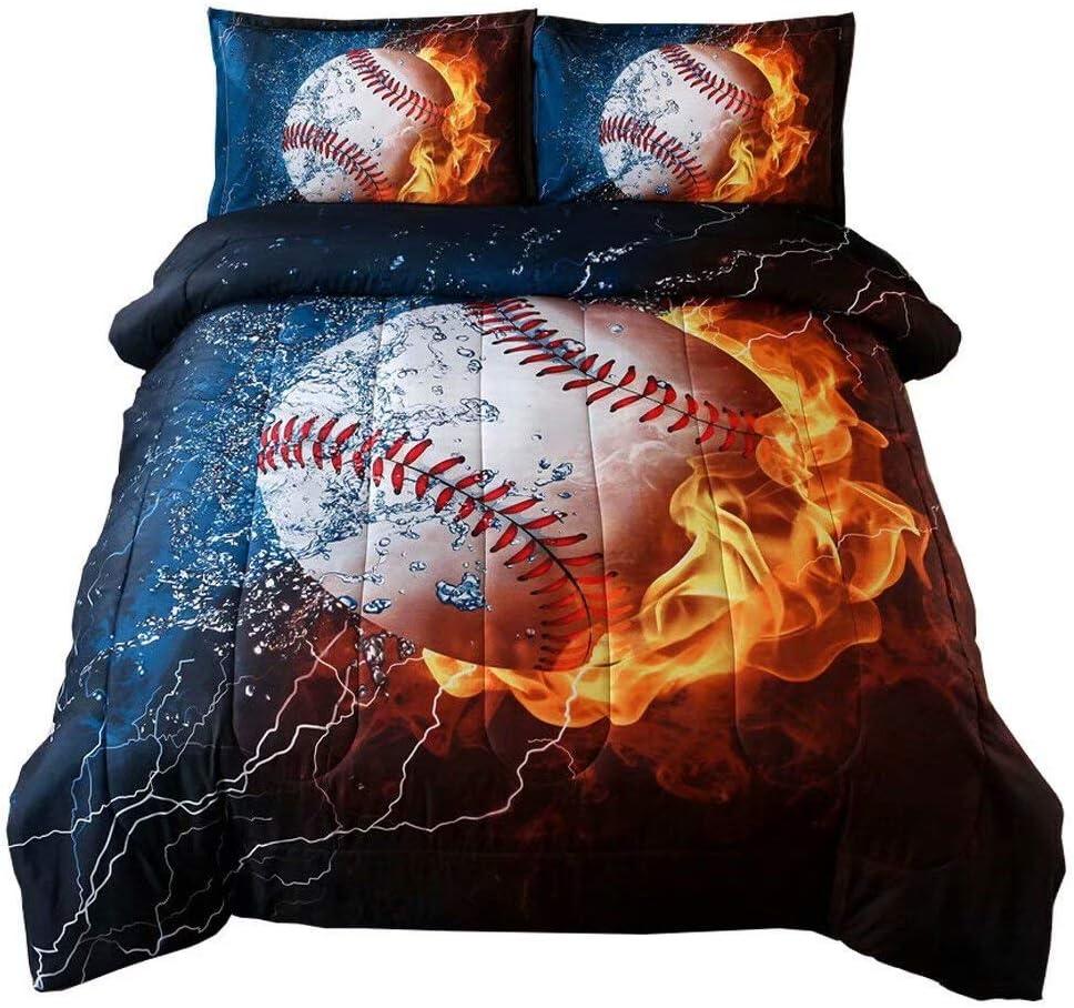 Holawakaka Baseball Comforter Set Boys Teens Sport Fans Bedding Quilt Pillowcases Full Size(baseball1)