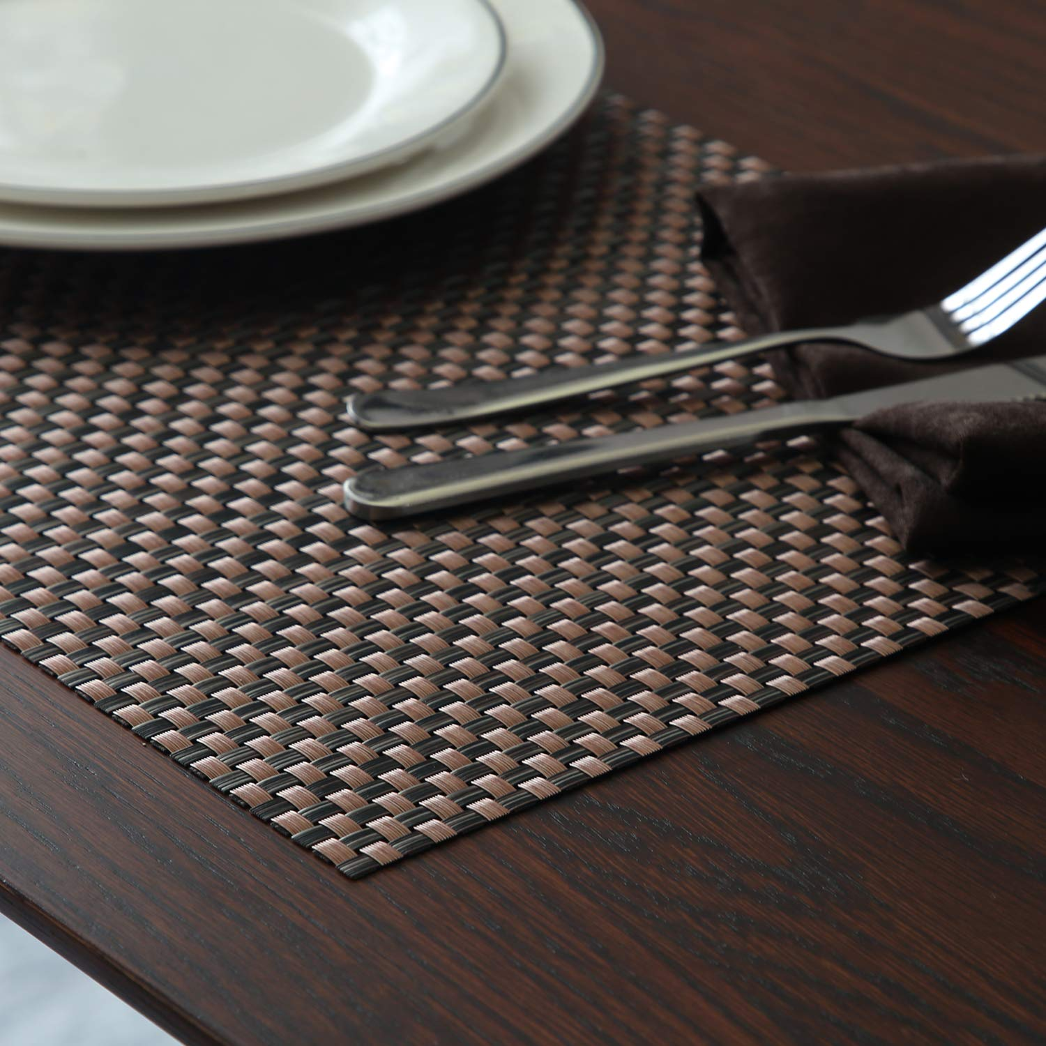 Top Finel Table Mats Sets Crossweave PVC Washable Stain Resistant Durable Dining Table Outdoor,Brown,Set of 8 by Top Finel (Image #7)