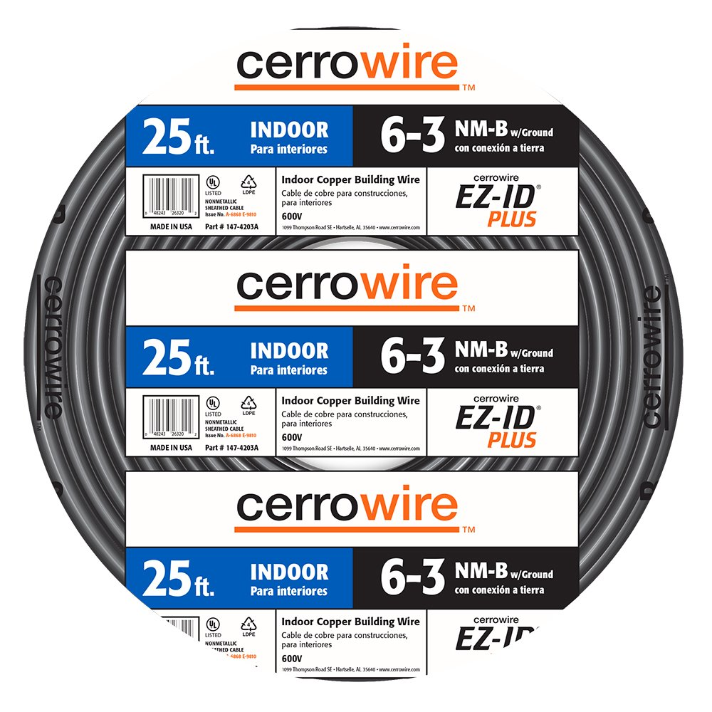 Cerrowire 147-4203A 25-Feet 6/3 NM-B Stranded with Ground Wire, Black