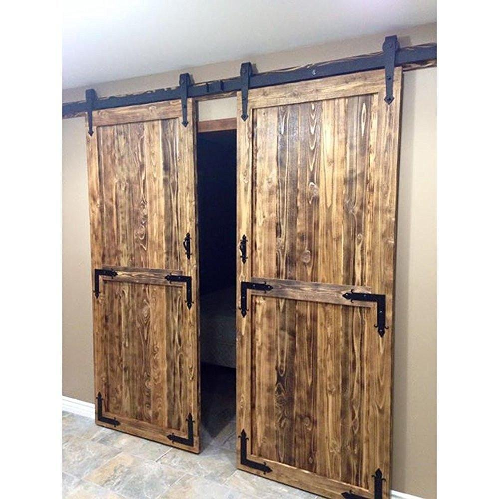 Amazon yaheetech 12 ft double antique country style black amazon yaheetech 12 ft double antique country style black steel sliding barn wood door hardware track system kit set home improvement vtopaller Image collections