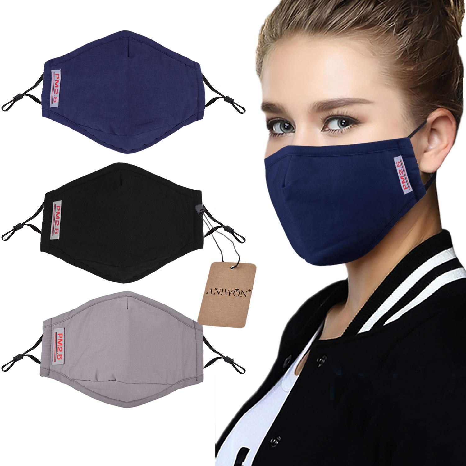Dust Mask,Aniwon 3 Pack Anti Dust Pollution Mask with 6 Pcs Activated Carbon Filter Insert Washable Cotton Mouth Mask with Adjustable Straps by Aniwon