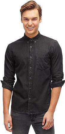 TOM TAILOR Denim Shirt Camisa Vaquera, Gris (Clean Dark Stone ...