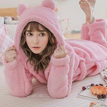 Albornoces Otoño Invierno Temporada Engrosamiento Pijamas Lady Cute Inicio Ropa Sleep Robe Sleep Pantalones Conjunto de