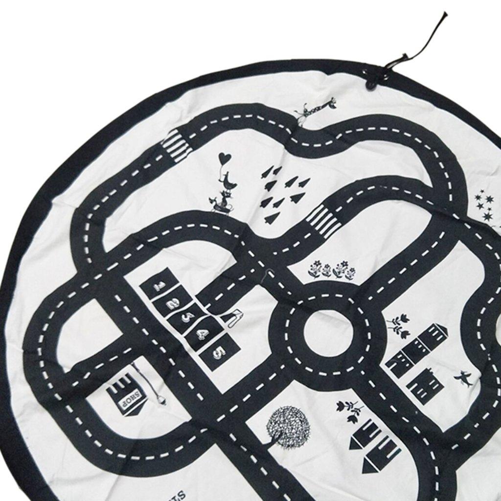 3 Muster perfk Kinder Aufr/äumsack Spieldecke Spielzeug Speicher Tasche Aufbewahrung Beutel Spielzeugaufbewahrung Autobahn