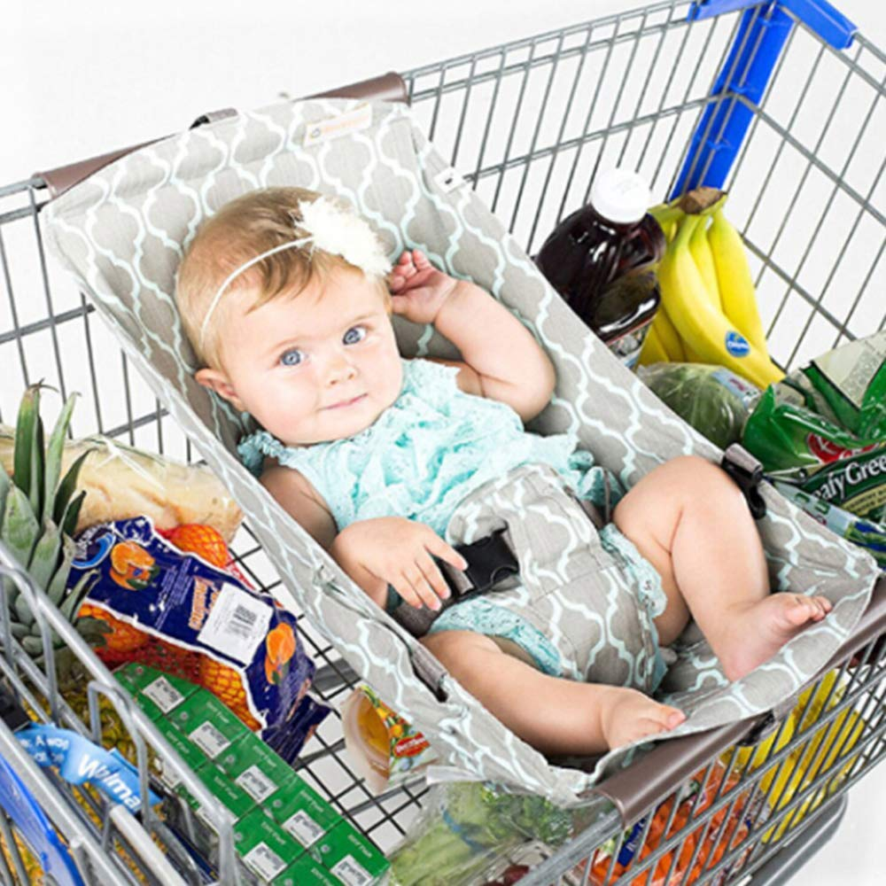 Baby Shopping Cart Hammock, Enjoyfeel Foldable Portable Baby Shopping Cart Bed - Suitable for 0-6 Months Baby - Mummy Shopping Assistant Baby Supplies (Gray)